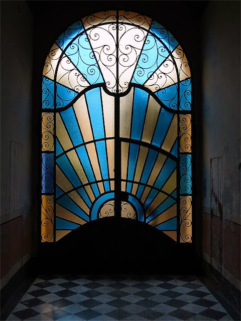 Stained glass door, Viale Italia, Livorno