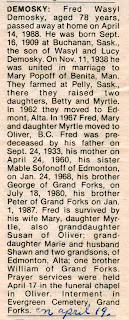 Obituary of Fred Demosky