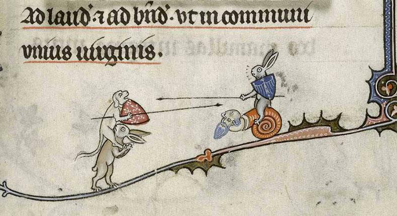 Ilustraciones de conejos violentas encontradas en los márgenes de los manuscritos medievales