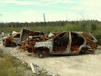 Vehículos robados y quemados