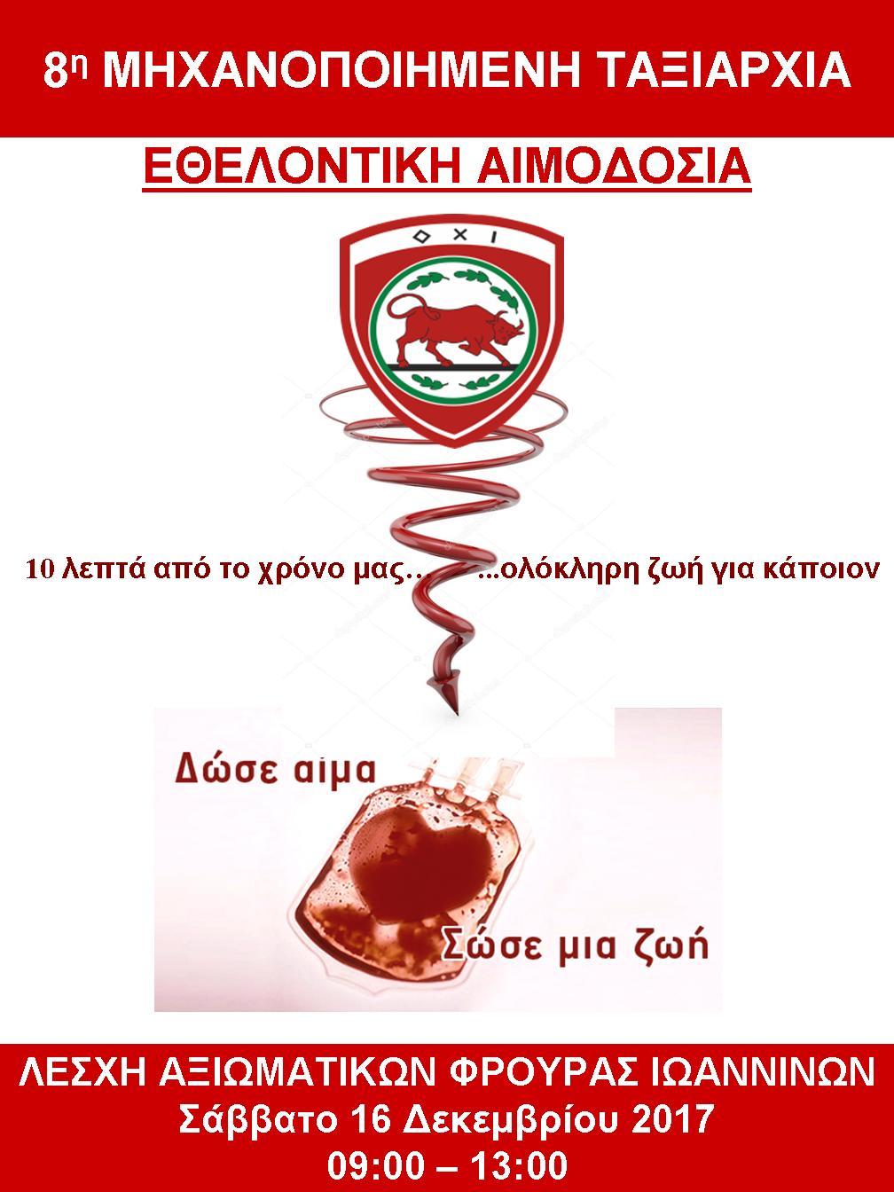 Εθελοντική αιμοδοσία  16 Δεκεμβρίου στη ΛΑΦ Ιωαννίνων
