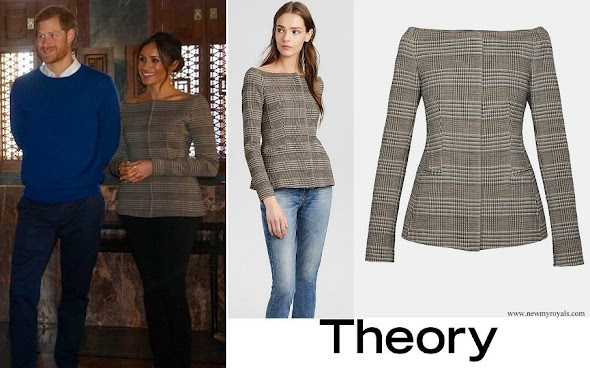 Meghan Markle wore Theory Wool Off-The-Shoulder Jacket