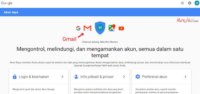 Tampilan Halaman Utama Google Account - Image by MeNDHo.com