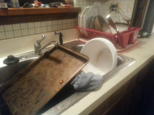 Sometimes dirty dishes have to wait until I have time. #SingleMomStruggles www.HeartofMichelle.com