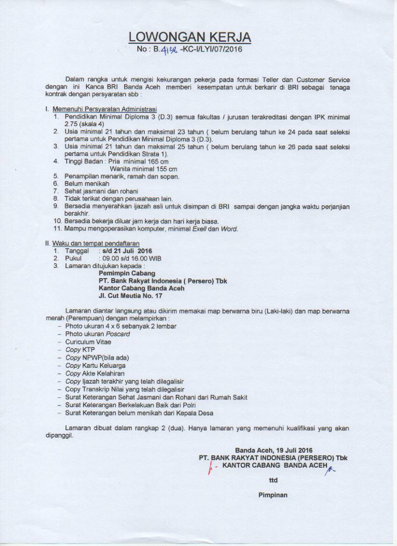 Lowongan Kerja BRI Banda Aceh