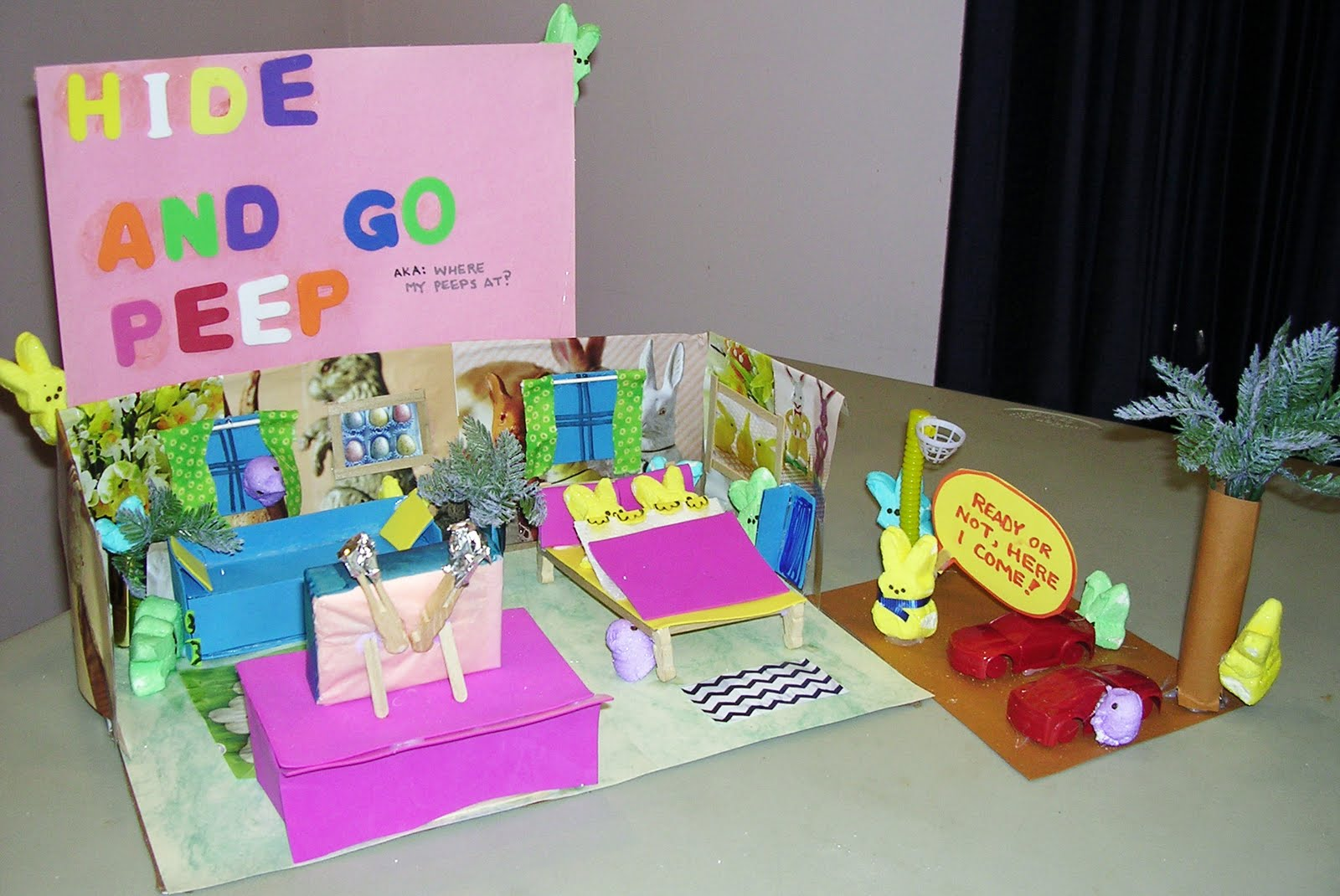 "Here are several photos of the Studio In-Sight/Crafts entries into the  Washington Post Peeps Show contest. ""HIDE AND GO PEEP; AKA WHERE MY PEEPS  AT?"""