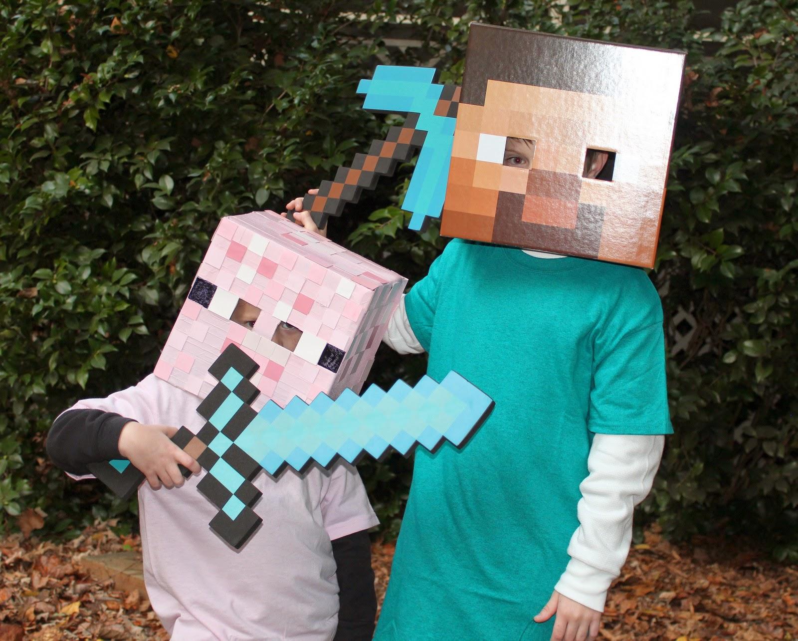 BONUS How to Make a Minecraft Diamond Dog Costume & The Harris Sisters: DIY Minecraft Pig Costume