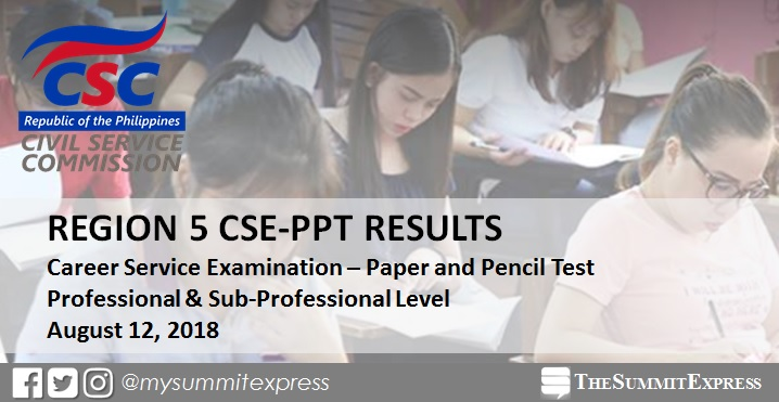 Region 5 Passers: Civil service exam CSE-PPT result August 2018