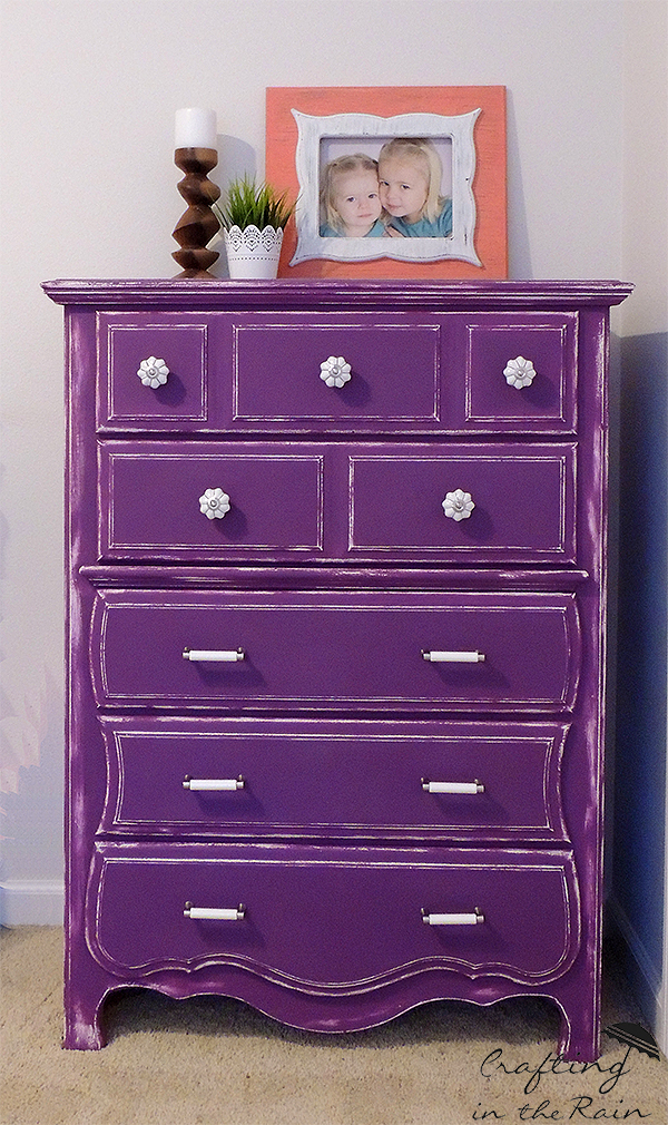purple dresser makeover