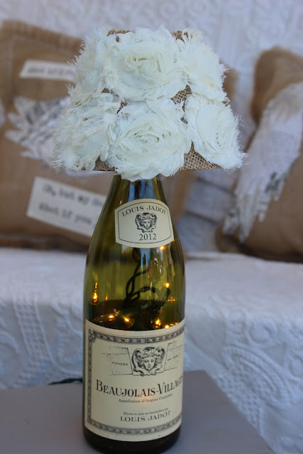Wine bottle lamp with burlap and shabby rose lamp shade