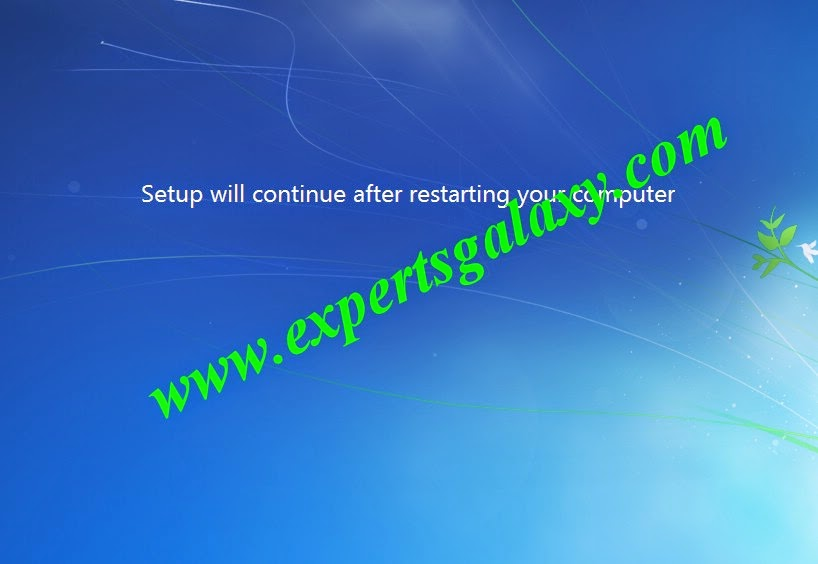 Windows 7 Setup Continue Screen