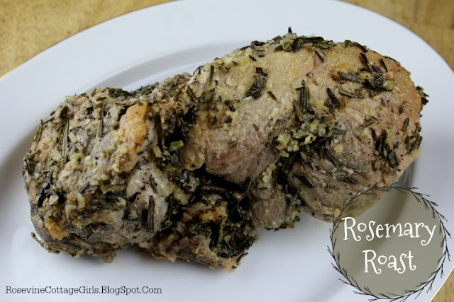 Christmas Recipe rosemary roast | white platter with a large rosemary roast on it | rosevinecottagegirls.com