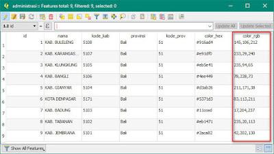 Tabel Layer Administrasi Provinsi Bali dengan file color_rgb sudah terisi dengan kode warna
