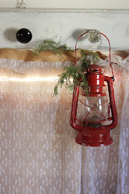 Burlap and lace curtain