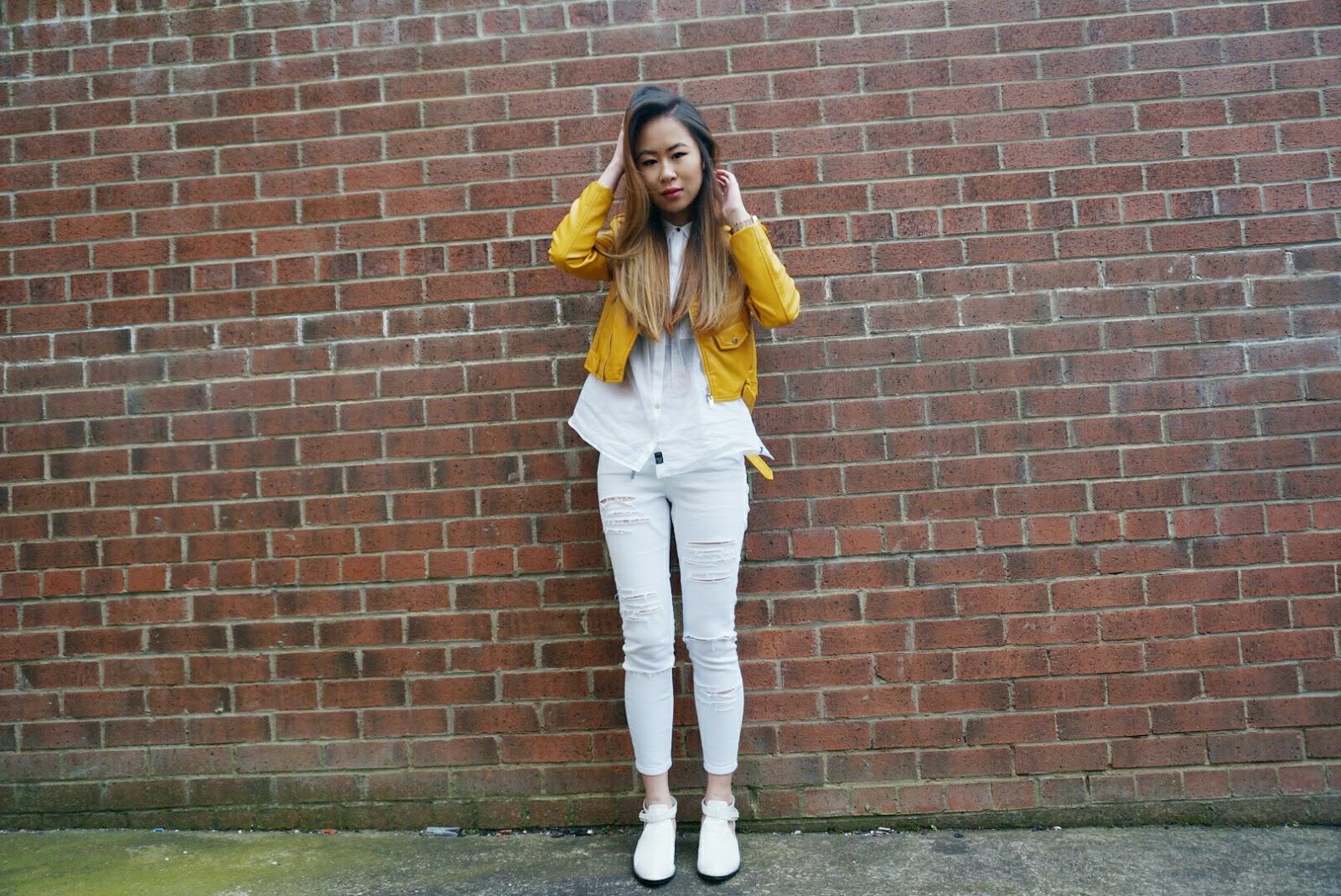 Leather jacket yellow zara - Zara Leather Jacket Replay Shirt Asos Ridley Jeans Senso Qimat Booties