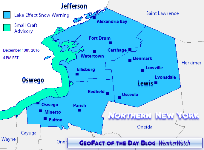 Lake effect snow warnings for northern New York's Jefferson, Lewis, and Oswego counties