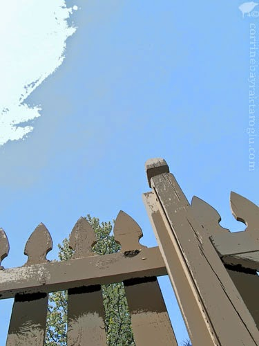 art photograph of fence and sky