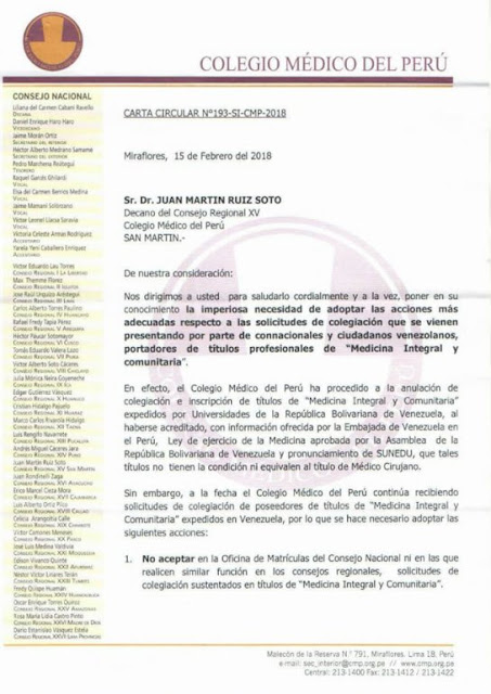 Colegio Médico de Perú no validará títulos de médicos integrales comunitarios de Venezuela