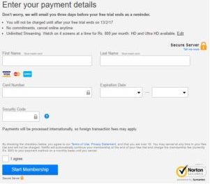 Netflix Payment Details