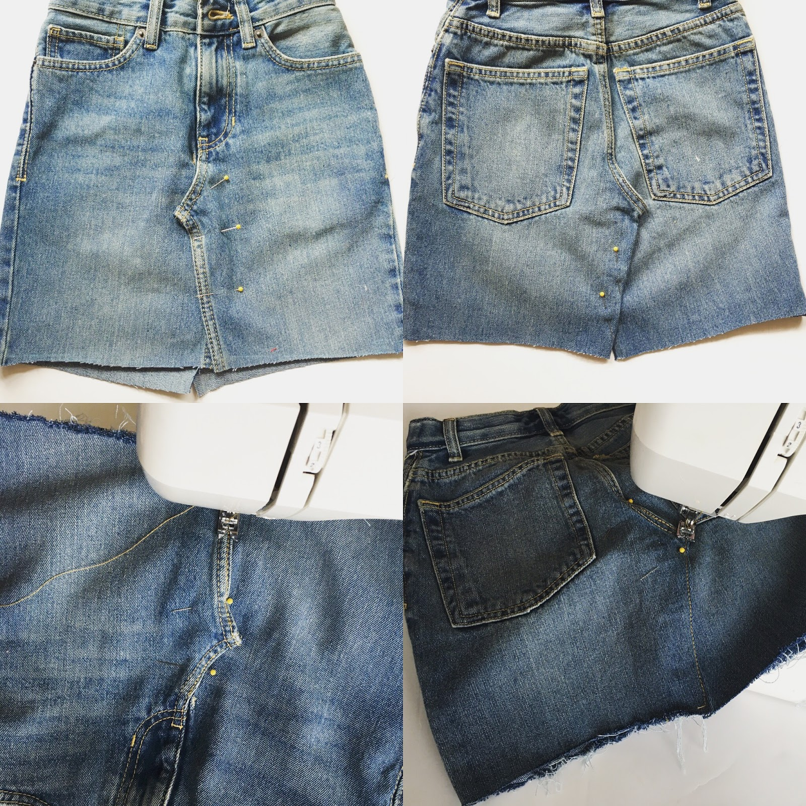 Trash To Couture DIY Denim Skirt From Jeans.