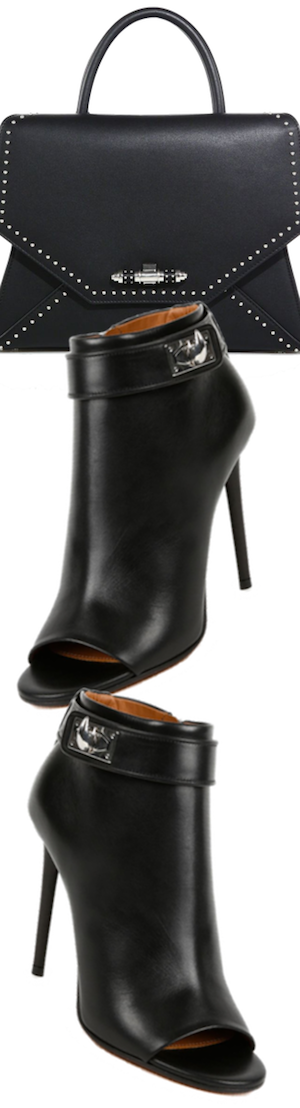 Givenchy Shark Lock Leather Peep-Toe Booties