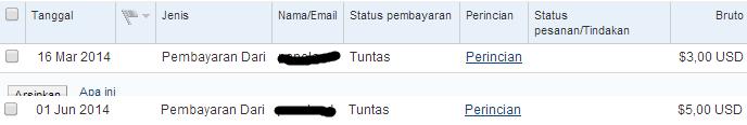 Bukti pembayaran ke account Paypal 2