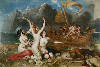 """The Sirens and Ulysses"" William Etty, 1837, The Song of the Sirens, the Odyssey, greek mythology"