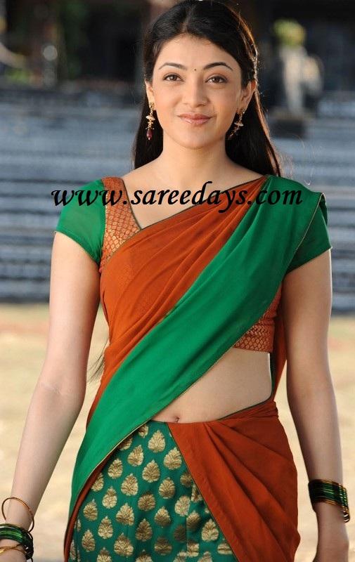 Latest Saree Designs: kajal agarwal in orange and green ...