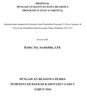 PROPOSAL BEASISWA S2 PASCASARJANA - DOWNLOAD CONTOH