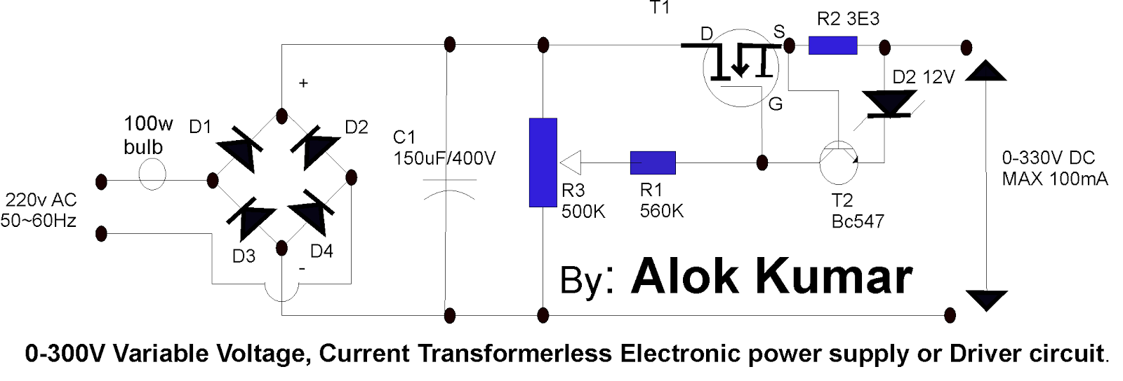 transformerless power supply circuit electronic circuits and