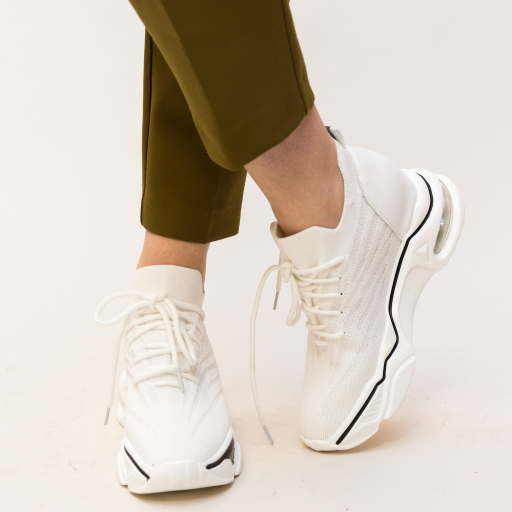 Adidasi albi inalt cu talpa groasa de calitate