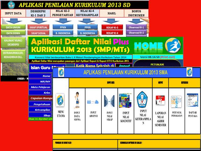 Aplikasi Penilaian SD, SMP, SMA Kurikulum 2013 Lengkap
