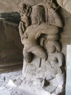 A Dvarapala or door-guardian outside a Shiva shrine in the Elephanta caves near Mumbai