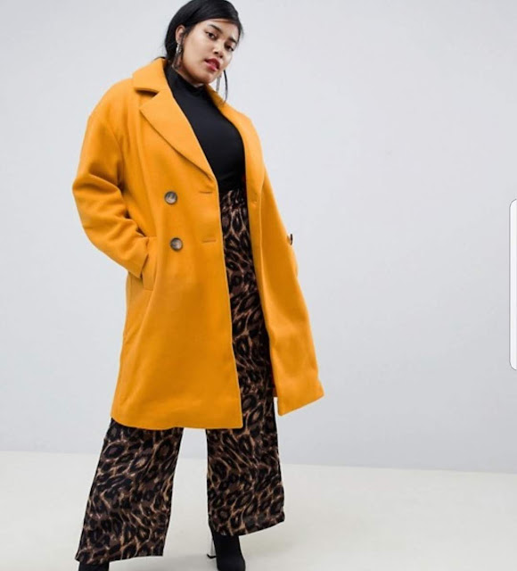 River Island Plus double breasted tailored longline coat in yellow €54.99