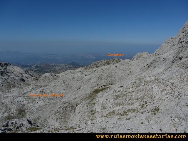Ruta Ercina, Verdilluenga, Punta Gregoriana, Cabrones: Descendiendo por el Jou de los desvíos hacia el Canalón del Conjurtao
