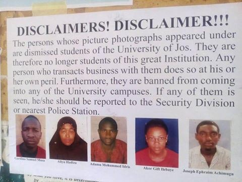 UNIJOS expels five students, disgraces them publicly