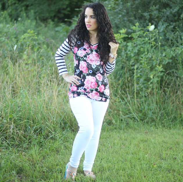 Floral Striped Long Sleeve Baseball Shirt