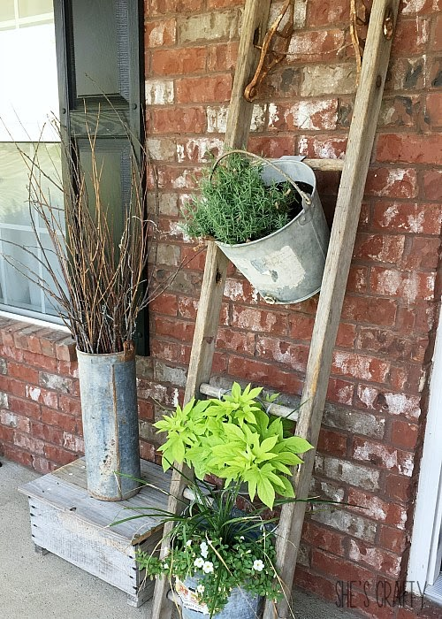 Farmhouse Front Porch decor - vintage wooden ladder