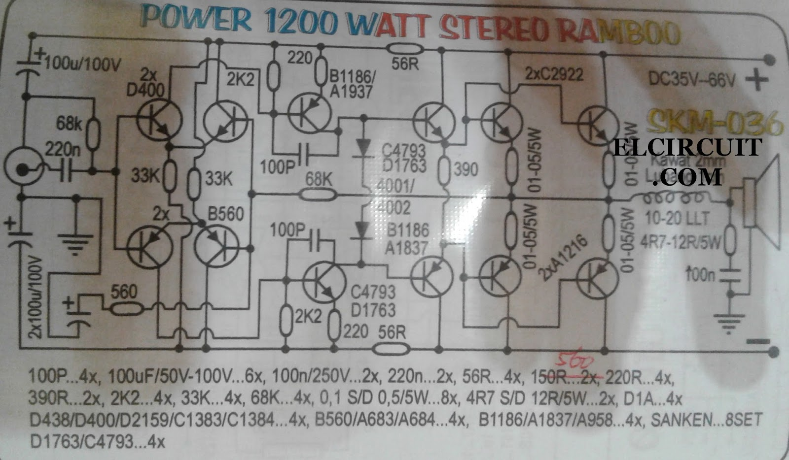 1200w High Power Amplifier 2sa1216 And 2sc2922 Electronic Circuit 400w Mosfet Schematic Diagram Component List