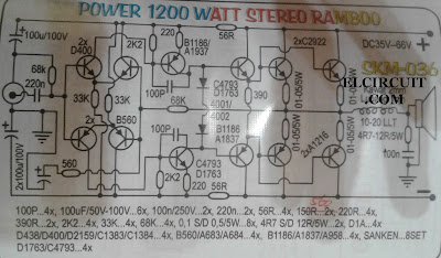 Schematic diagram 1200W Power Amplifier Circuit and component list