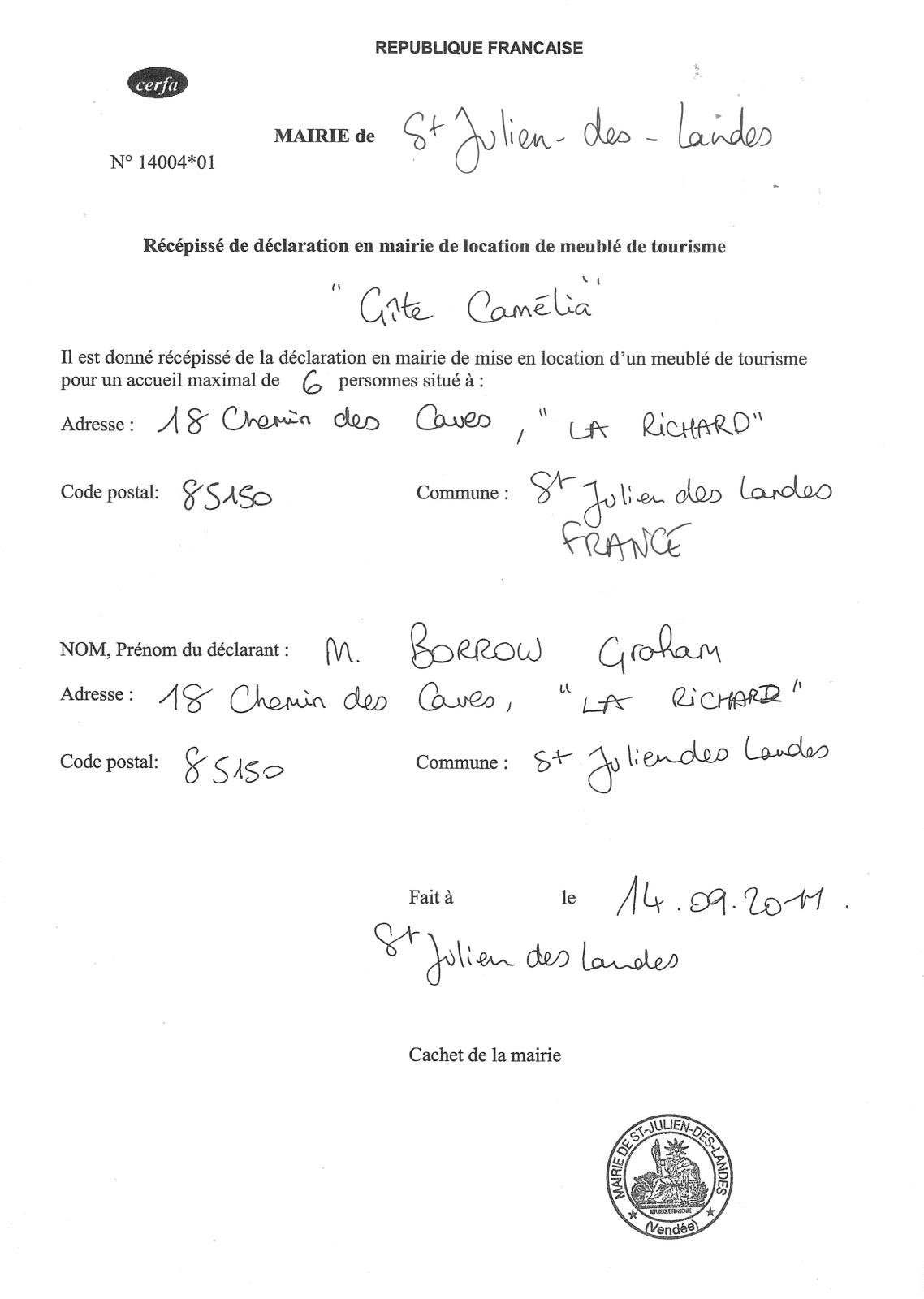 Gites du parc vend e france g tes location holiday - Declaration en mairie des meubles de tourisme ...