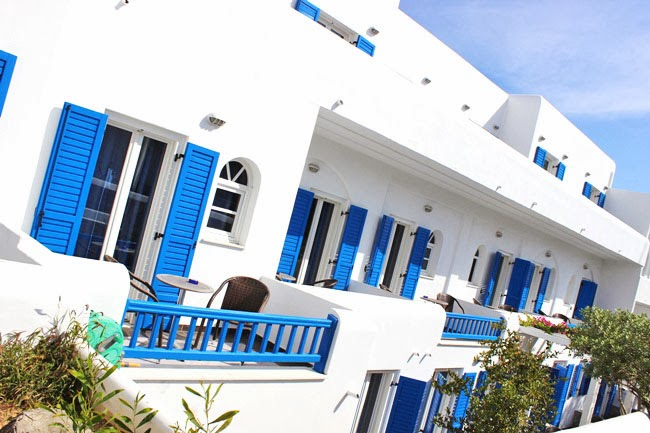 pretty white and blue Mykonos hotels