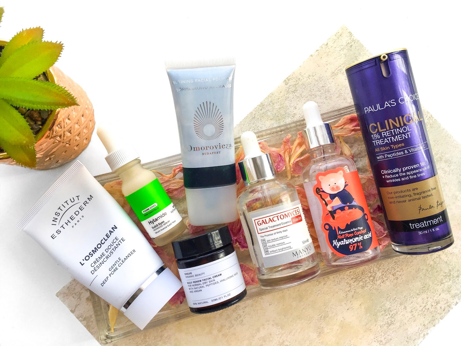 current skincare products review, institut esthederm losmoclean review, hylamide subq eyes review, elizavecca hyaluronic acid review, evolve beauty moisturiser review, manyo factory galactomyces essence review, skincare routine oily combination skin