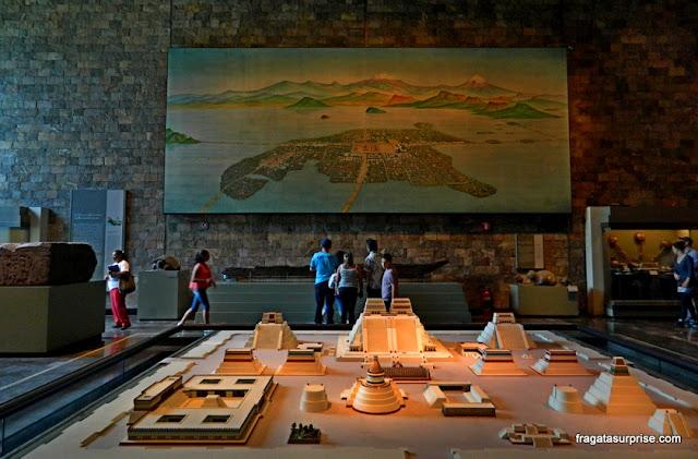 Maquete de Tenochtitlán (Cidade do México) no Museu Nacional de Antropologia do México