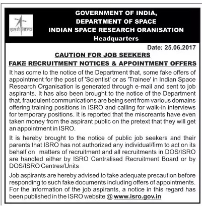 fake recruitment notice ISRO