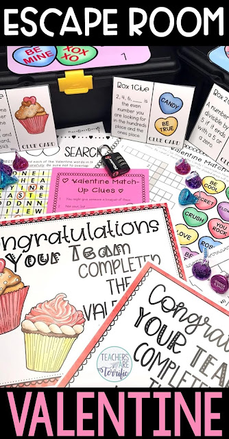 This elementary Valentine Escape Room resource is the perfect way to keep students engaged and learning during the busy month of February. Students will solve math mazes, complete word search puzzles, match vocabulary words, and use a puzzle wheel to find the lock codes.  This resource includes a STEM Challenge to build a Valentine Candy Box!  Your students will have such fun and practice skills at the same time! #elementary #STEM #