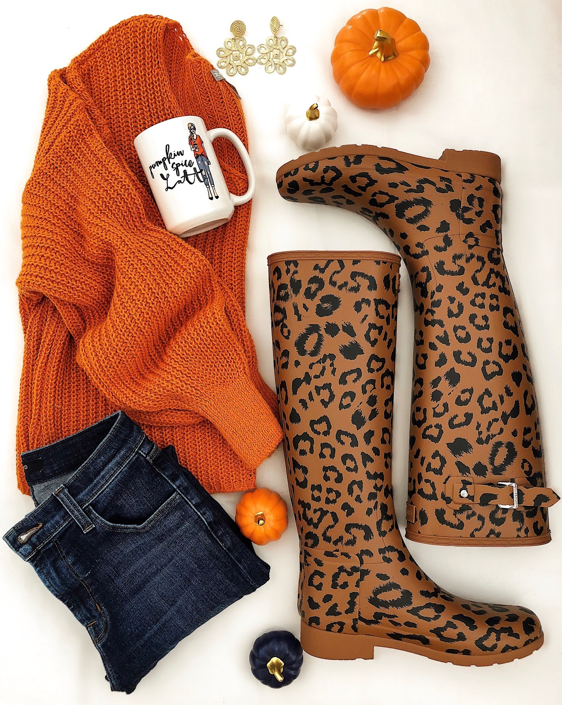 The Perfect Fall Look - Orange Sweater + Leopard Hunter Boots - Something Delightful Blog