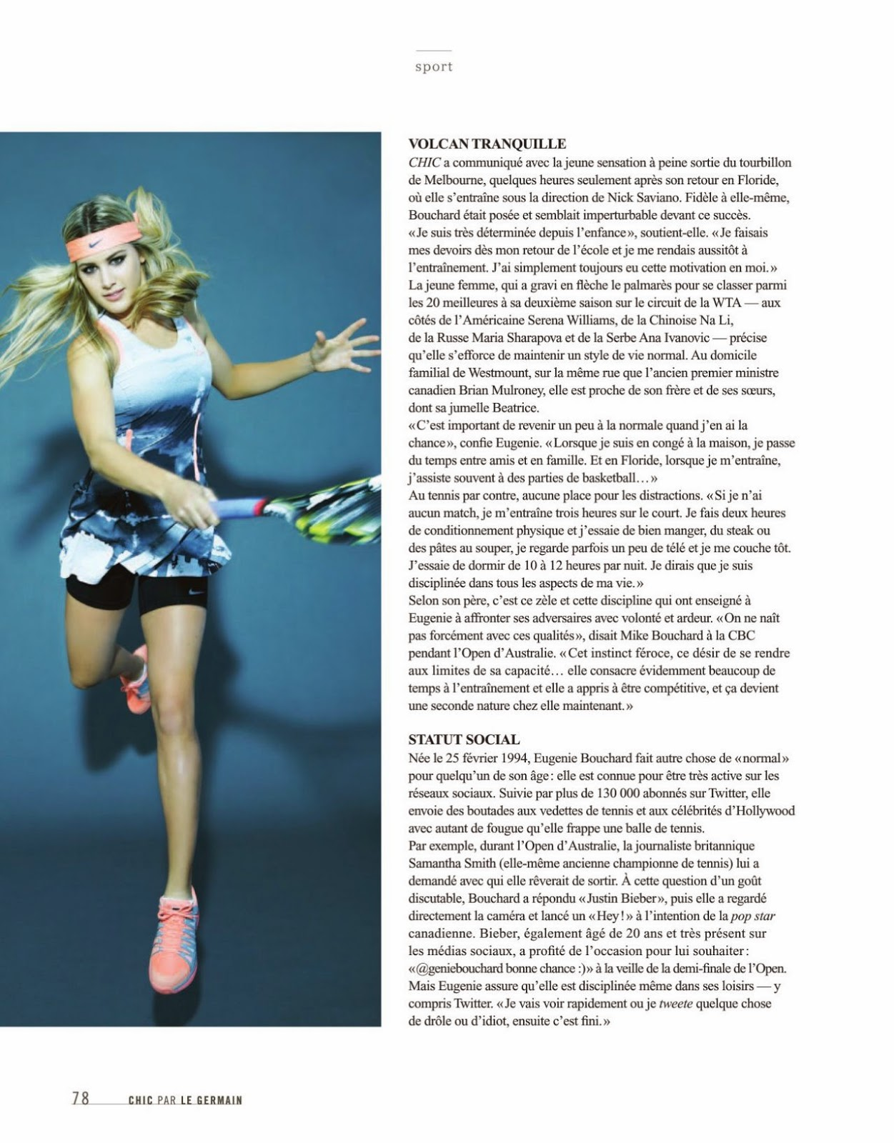 Tennis star Eugenie Bouchard poses for Chic Magazine Summer 2014