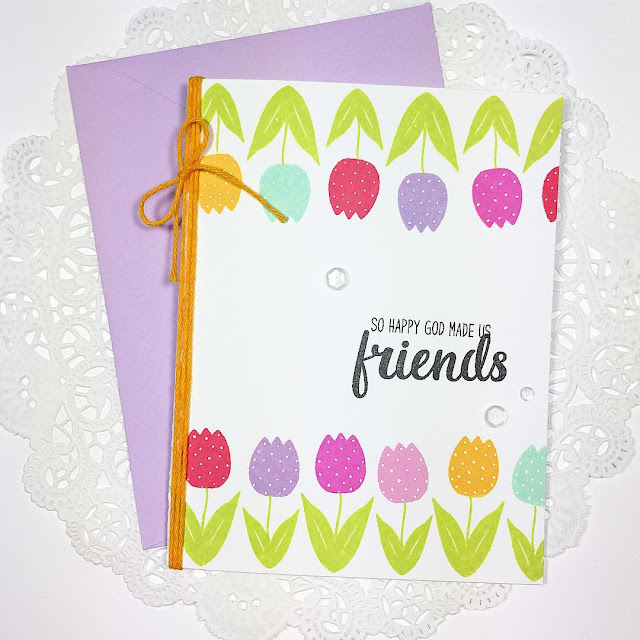 Sunny Studio Stamps: Friends & Family Tulip Border Card by Melissa Bickford