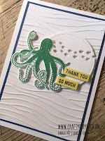 This image shows a blue, green and white hand-made octopus card. Its sentiment reads 'thank you very much' and has been made with the Sea of Textures stamp set by Stampin' Up!